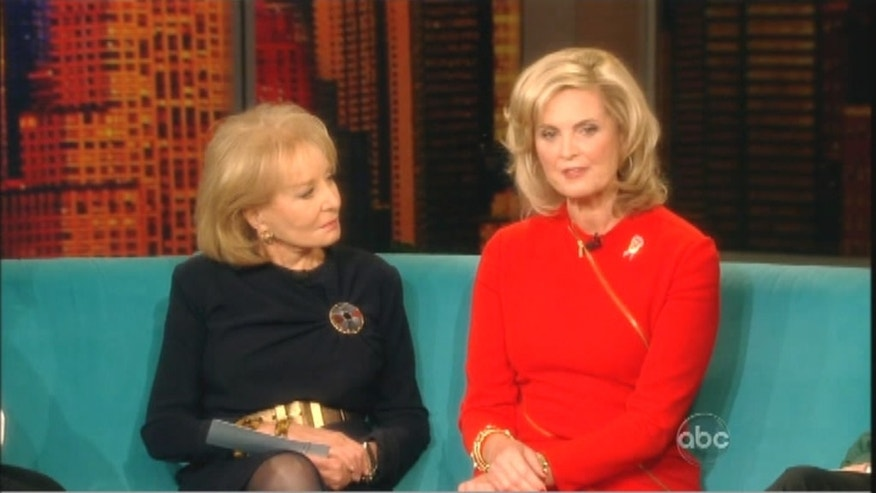 Ann Romney, right, was asked her thoughts on abortion by host Barbara Walters shortly after they exchanged pleasantries and Walters reiterated an invitation for Mitt Romney to appear on the daytime talk show.