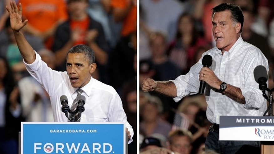 In these Sept. 26, 2012 photos, President Barack Obama and Republican presidential candidate Mitt Romney both campaign in the battleground state of Ohio.