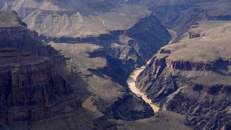 FILE: August 10, 2012: Overall view from the south Rim of the Grand Canyon and the Colorado river near Tusayan, Arizona.