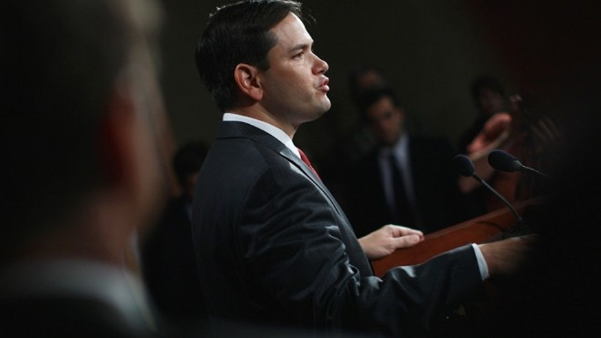 WASHINGTON, DC - JUNE 29:  Sen. Marco Rubio (R-FL) speaks during a press conference with fellow Republicans on objecting to a scheduled U.S. Senate recess next week June 29, 2011 in Washington, DC.  Sen. Jim Demint and other senators are requesting that the U.S. Senate remain in session to work on the debt ceiling issue.  (Photo by Win McNamee/Getty Images)