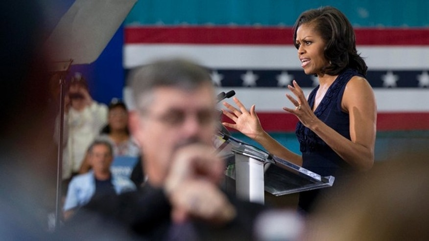 Oct. 26, 2012: First Lady Michelle Obama speaks at a campaign rally in Las Vegas.