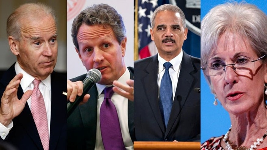 Four top Obama officials to survive the first term are Vice President Joe Biden, Treasury Secretary Tim Geithner, Attorney General Eric Holder and HHS Secretary Kathleen Sebelius.