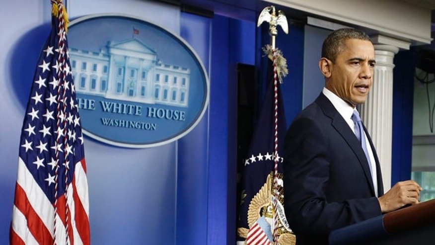 Monday, Oct. 29, 2012: President Obama in the White House Briefing Room in Washington, D.C.