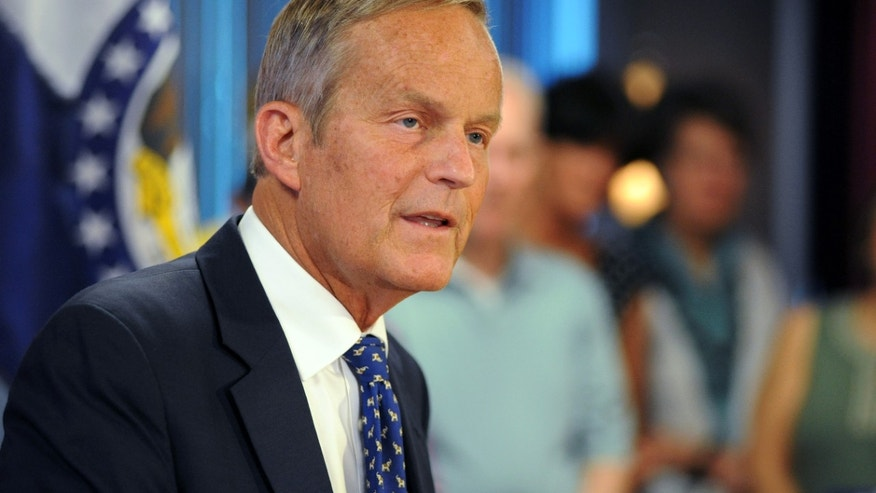 FILE: Aug. 24, 2012: Rep. Todd Akin, R-Mo., addresses members of the media in Chesterfield, Mo.