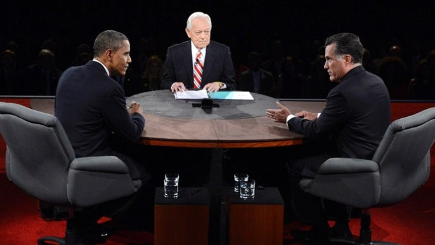 FILE: Oct. 22, 2012: President Obama and moderator Bob Schieffer listen as Republican presidential nominee Mitt Romney speaks during the third presidential debate.