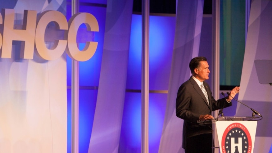 Republican Presidential candidate Mitt Romney addresses the annual United States Hispanic Chamber of Commerce meeting in Los Angeles. Photo courtesy The Romney for President Campaign.