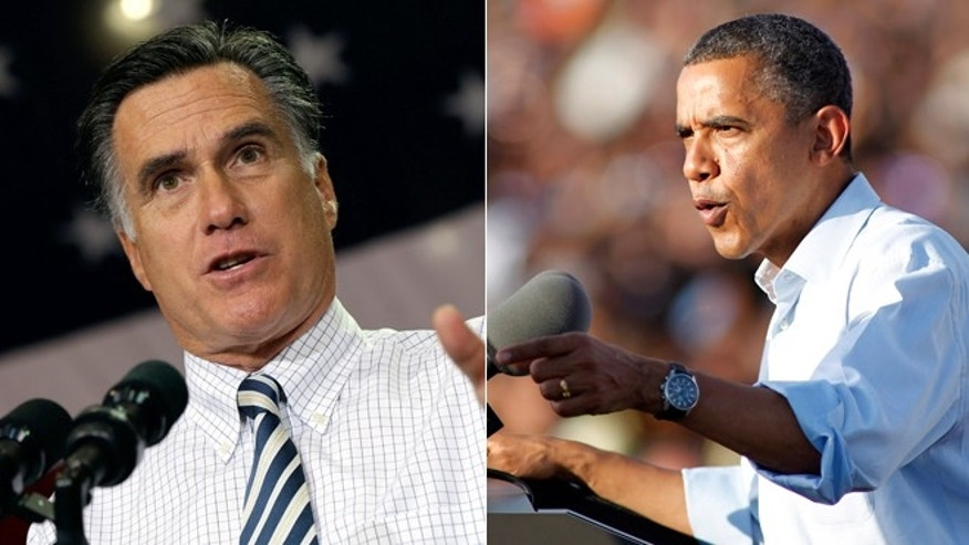 Sunday, Nov. 4, 2012: Mitt Romney campaigns in Cleveland while President Obama attends a rally in Hollywood, Fla.