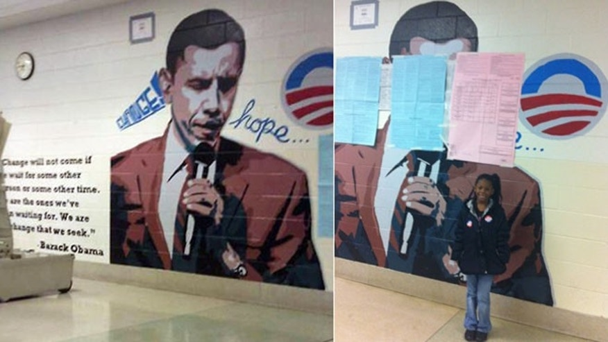 Shown here is a mural of President Obama at a Philadelphia polling site before and after it was partially covered up following a judge's order.
