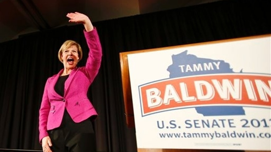 Nov. 6, 2012: U.S. Rep. Tammy Baldwin, D-Wis., waves to supporters after making her a victory speech in Wisconsin's U.S. Senate race.