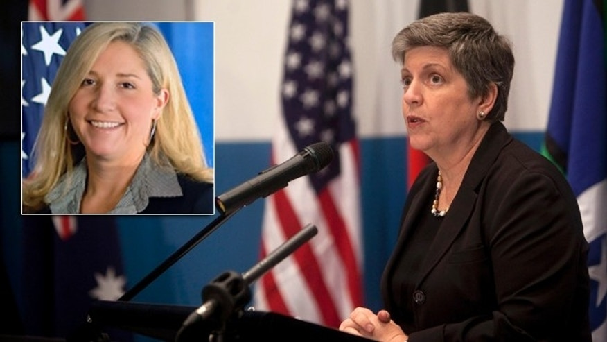 ICE Chief of Staff, Suzanne Barr, left, is seen here with Homeland Security Secretary Janet Napolitano. Barr resigned from her post amid allegations of inappropriate sexual behavior toward employees.