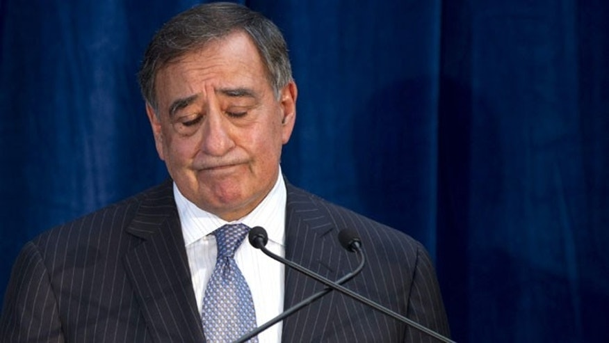 Nov. 14, 2012: Secretary of Defense Leon Panetta closes his eyes during a press conference with Australian Minister of Defense Stephen Smith in Kings Park in Perth, Australia.