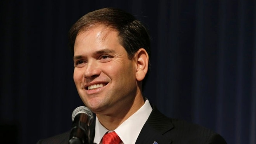 Saturday, Nov. 17, 2012: U.S. Sen. Marco Rubio, R-Fla., speaks during Iowa Gov. Terry Branstad's annual birthday fundraiser, in Altoona, Iowa.
