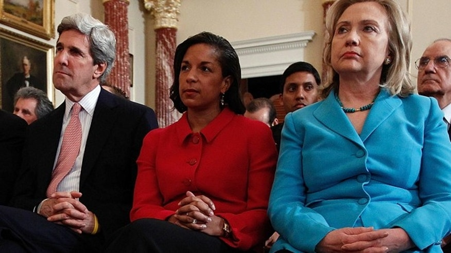 May 19, 2011: Secretary of State Hillary Clinton sits with Sen. John Kerry and U.N. Ambassador Susan Rice as President Obama delivers a foreign policy address.