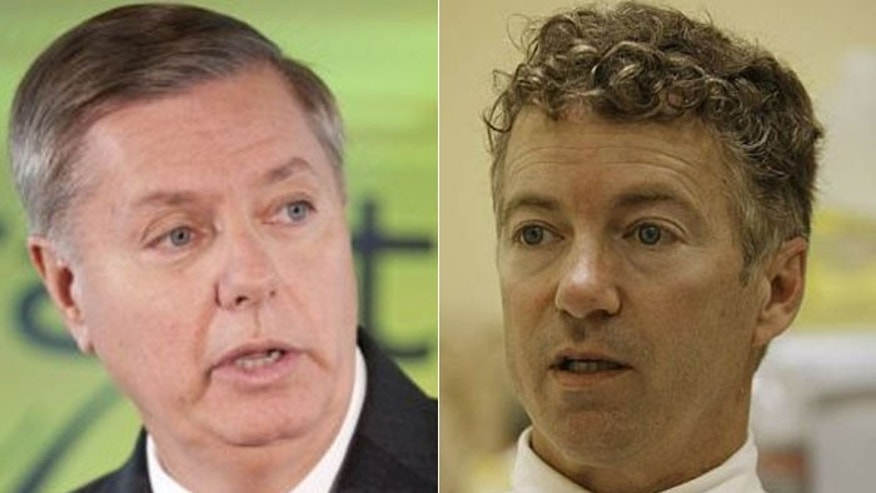 "Senators Lindsay Graham (l.) and Rand Paul (r.) agree that the Guantanamo Bay detainees are ""crazy bastards,"" but disagree on what to do with them. (AP)"