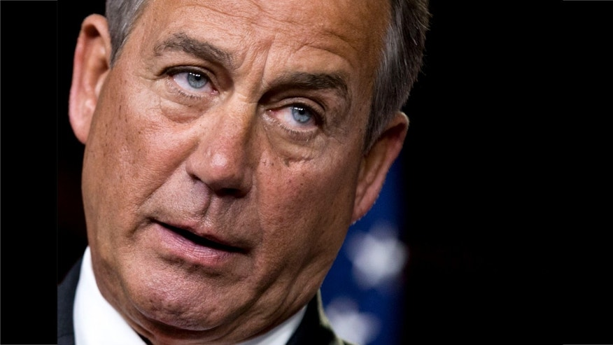 FILE - This Nov. 29, 2012 file photo shows House Speaker John Boehner of Ohio speaking to reporters on Capitol Hill in Washington.
