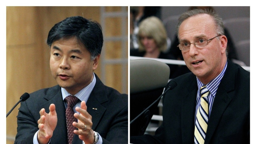 State Sen. Ted Lieu, D-Torrance, left, and David Pickup, a licensed marriage and family therapist, address lawmakers in favor and opposition, respectively, of a bill to ban a controversial form of psychotherapy aimed at making gay people straight during a hearing at the Capitol in Sacramento, Calif.