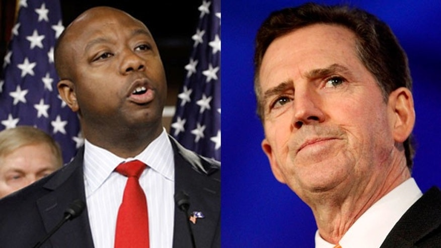 Shown here are South Carolina Rep. Tim Scott, left, and outgoing Sen. Jim DeMint.