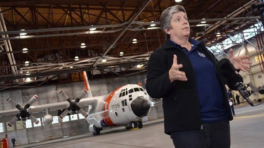 Aug. 6, 2012: Homeland Security Secretary Janet Napolitano talks with a video crew for a TV show in Hangar One at Air Station Kodiak, Alaska.