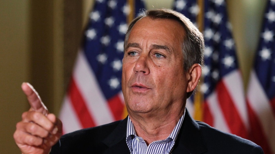 Dec. 7, 2012: U.S. House Speaker John Boehner (R-OH) speaks to the media outside his office on Capitol Hill in Washington.