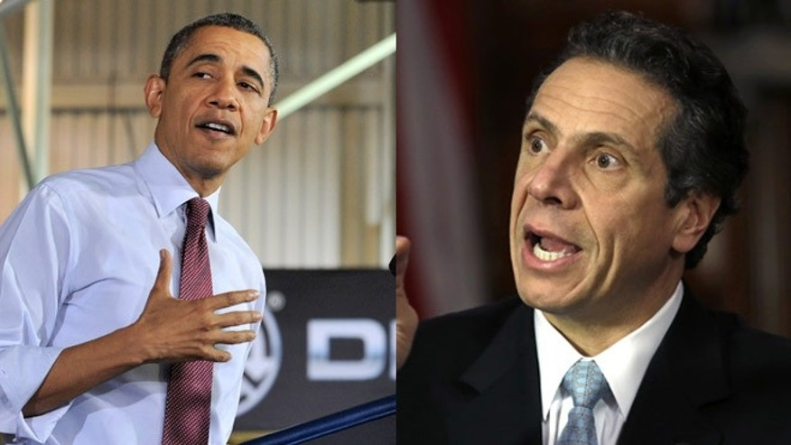Shown here are President Obama and New York Gov. Andrew Cuomo.