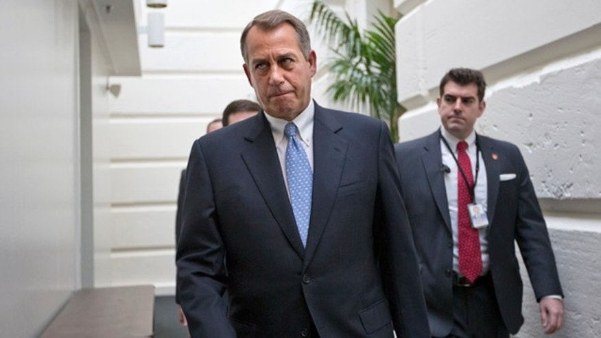 Dec. 5, 2012: House Speaker John Boehner of Ohio walks to a closed-door Republican strategy session on Capitol Hill in Washington.