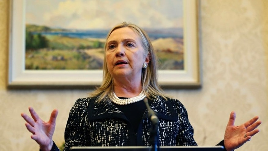 FILE: Dec. 7, 2012: Secretary of State Hillary Clinton at a news conference at Stormont Castle in Belfast, Northern Ireland.