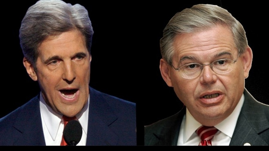 Sen. John Kerry, D-Mass., left and Sen. Robert Menendez, D-N.J., right.