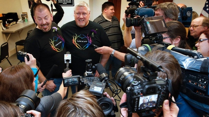 Saturday, Dec. 29, 2012: Steven Bridges and Michael Snell, the first gay  couple to be married under the state's new law, City Hall in Portland, Maine.