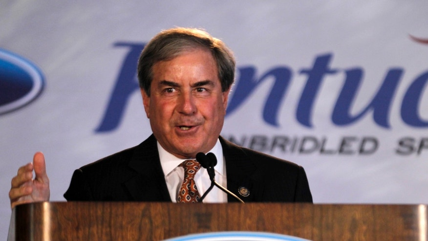 FILE: June 13, 2012: Rep. John Yarmuth, D-Ky., addresses Louisville Assembly Plant employees in Louisville, Kentucky.