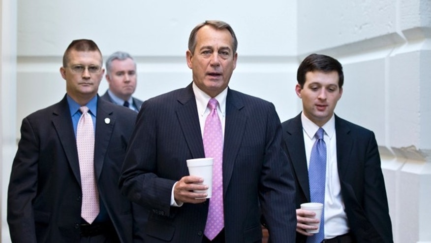 In this Jan. 4, 2013, photo, House Speaker John Boehner of Ohio, walks to a strategy session with GOP members, on Capitol Hill in Washington at the start of the first full day of business for the new 113th Congress. (AP Photo/J. Scott Applewhite)