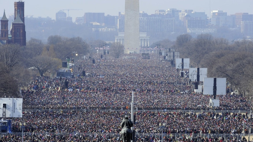 Jan. 20, 2009: This file photo shows the crowd on the National Mall looking from the Capitol toward the Washington Monument and Lincoln Memorial listening to the inaugural address of President Barack Obama.