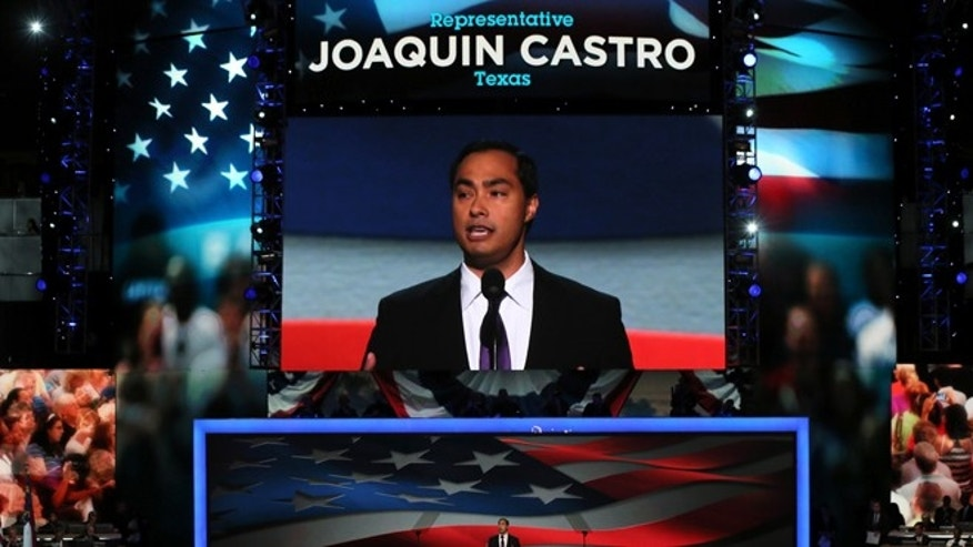 CHARLOTTE, NC - SEPTEMBER 04:  Joaquin Castro (D-TX) introduces his brother San Antonio Mayor Julian Castro during day one of the Democratic National Convention in Charlotte, North Carolina. Julian delivered the keynote speech.