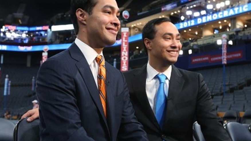 San Antonio Mayor Julian Castro, left, and his twin, U.S. Rep. Joaquin Castro, both Democrats.