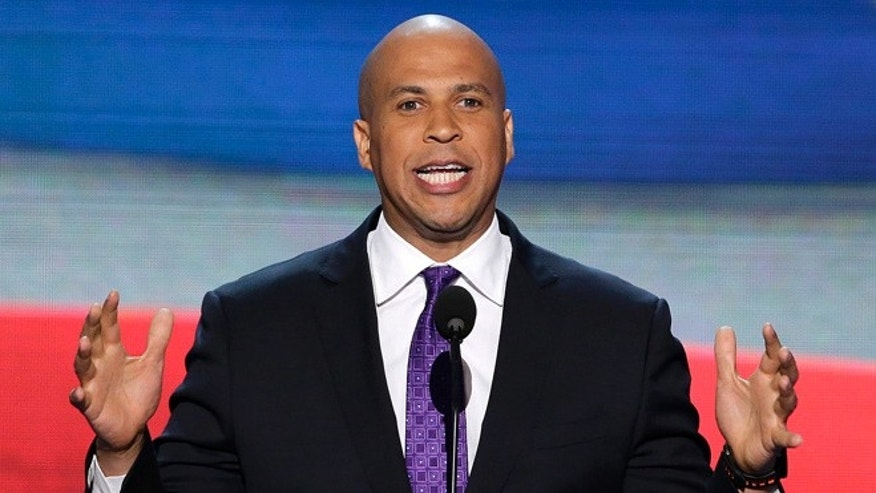 Sept. 4, 2012: In this file photo, Newark, N.J., Mayor Cory Booker addresses the Democratic National Convention in Charlotte, N.C.