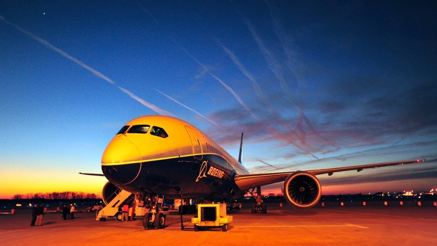 Jan. 27, 2012: In this file photo, Boeing's newest aircraft, the Boeing 787, sits on the tarmac at Huntsville International Airport after a 3600-mile flight from Dublin, in Huntsville, Ala.