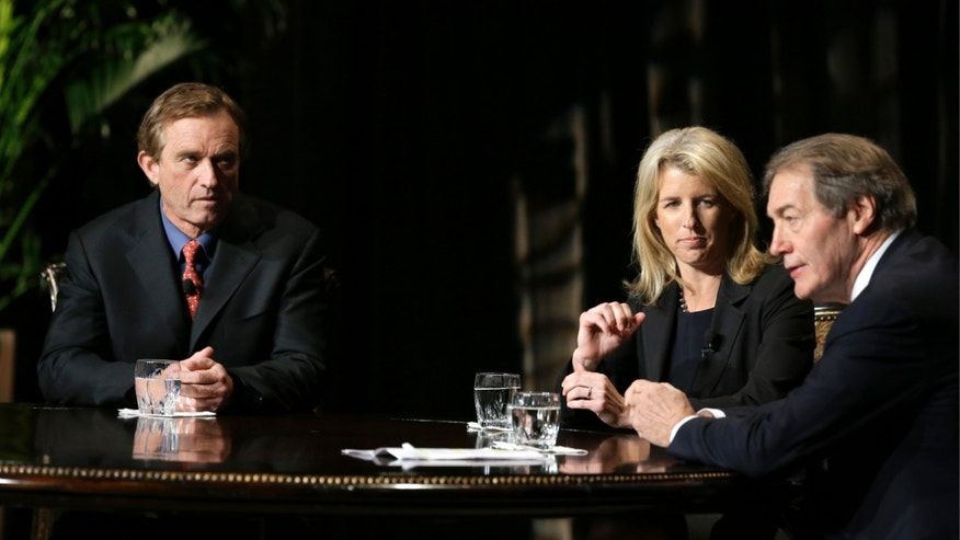 Friday, Jan. 11, 2013: Journalist Charlie Rose, right, talks with Rory Kennedy, center, and Robert F. Kennedy Jr., left, at the AT&T Performing Arts Center, in Dallas.
