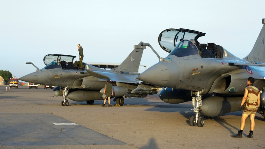 Jan.13, 2013 - French Rafale jetfighters on the tarmac after a mission to Mali in N'Djamena, Chad.