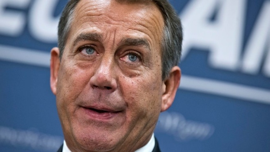 FILE: Dec. 12, 2012: House Speaker John Boehner speaks during a news conference on Capitol Hill in Washington.