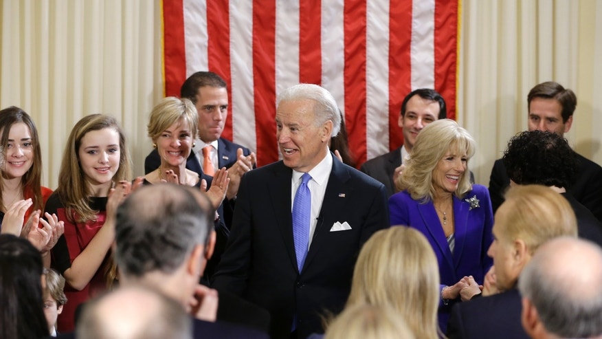 Sunday, Jan. 20, 2013: Vice President Biden with wife Jill Biden after taking the oath of office from Supreme Court Justice Sotomayor at the Naval Observatory, in Wash., D.C.
