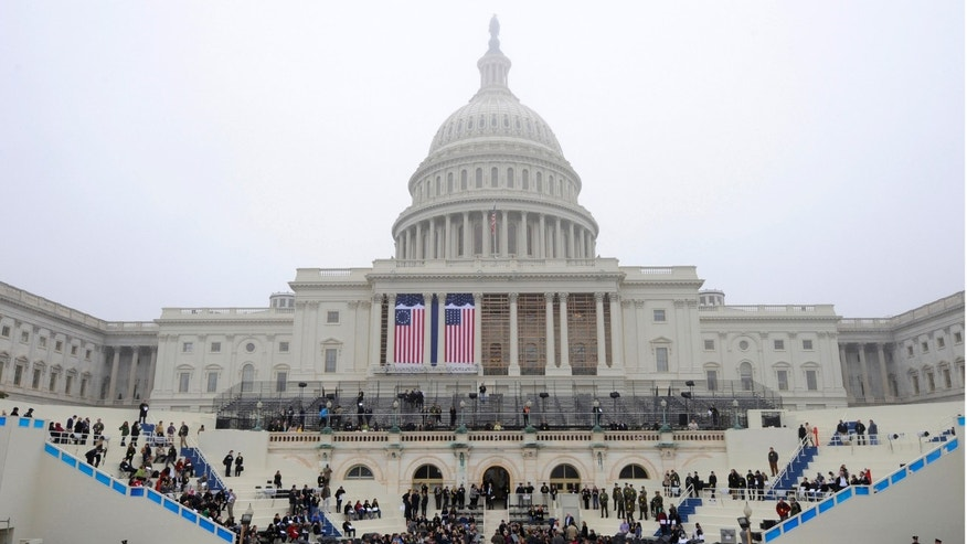 January 13, 2013: The west front of the Capitol Building during a dress rehearsal for the inaugural of President Obama, Washington D.C.