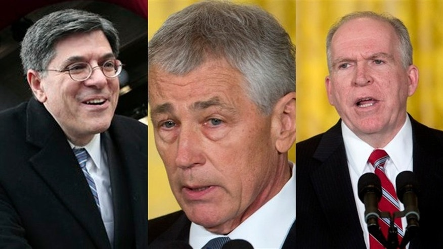 Shown here are, from left to right, Jack Lew, Chuck Hagel and John Brennan -- President Obama's nominees to key positions in his second term.