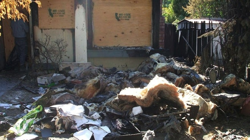 This photo, provided by Brad and Jennifer Taylor, shows their Sacramento home after it was destroyed by a fire in August.