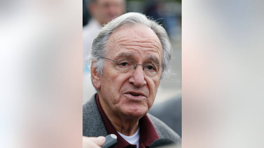 Jan. 26, 2013: In this Monday, Oct. 25, 2010 photo, U.S. Sen. Tom Harkin, D-Iowa, speaks to reporters following a rally in support of three Iowa Supreme Court justices who are up for retention votes in the November election, in Des Moines, Iowa.