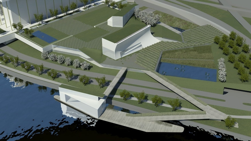 January 29, 2013: This handout artist rendition provided by The Kennedy Center and courtesy of Steven Holl Architects, shows architect Steven Holl's design concepts for the first major expansion of the Kennedy Center that will include rehearsal halls and classrooms, a memorial garden, and a stage floating on the Potomac River's edge for outdoor performances.