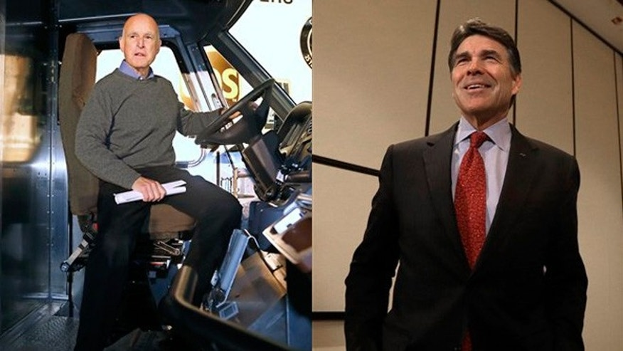 Shown here are California Gov. Jerry Brown, left, and Texas Gov. Rick Perry.