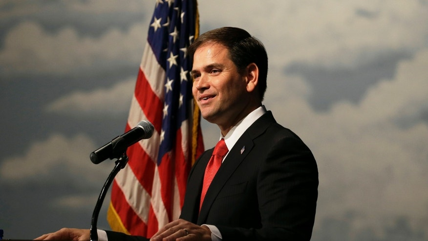FILE: Nov. 17, 2012: Sen. Marco Rubio, R-Fla., speaks during Iowa Gov. Terry Branstad's annual birthday fundraiser.