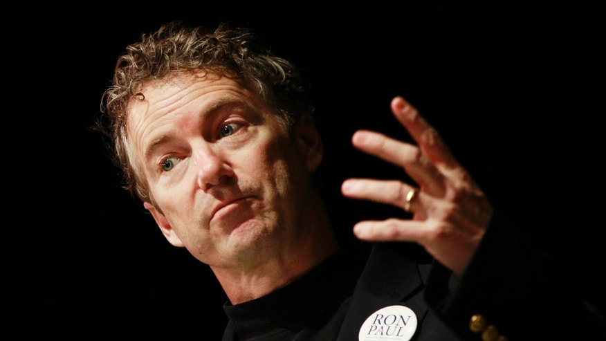 FILE:  Jan. 7, 2012: Sen. Rand Paul, R-Ky., campaigns for his father, GOP presidential candidate Rep. Ron Paul, R-Texas in Nashville, Tenn.