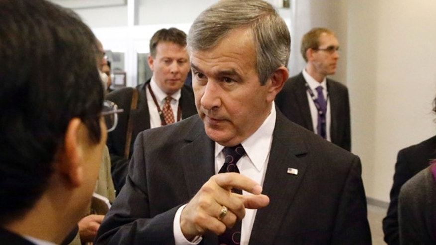 Nov. 13, 2012: In this file photo, Sen. Mike Johanns, R-Neb. speaks with reporters on Capitol Hill in Washington.