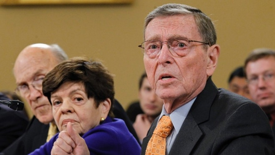 Nov. 1, 2011: In this file photo, former Senate Budget Committee Chairman Pete Domenici, R-N.M., right, speaks before the Joint Select Committee on Deficit Reduction during a hearing on Capitol Hill in Washington.