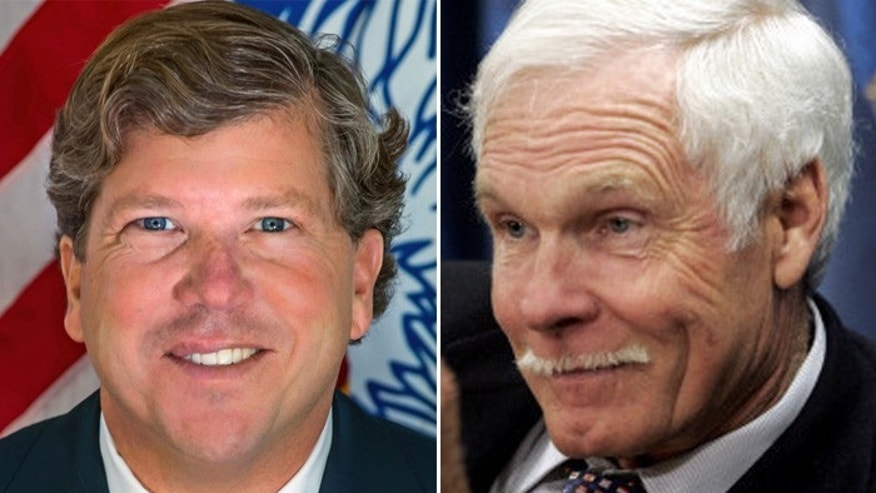 Congressional candidate Teddy Turner (l.) is conservative, and his father, media mogul Ted Turner is liberal, but the two are close.